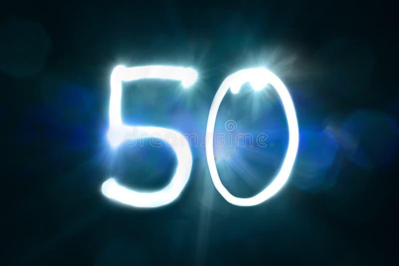 Pięćdziesiąt lekkich błyskotanie połysku liczby rocznicy rok zdjęcie stock