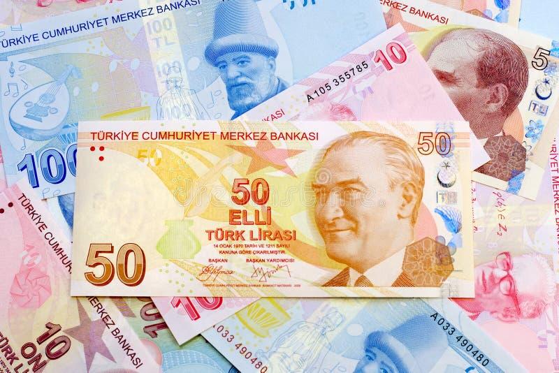 Pięćdziesiąt Tureckich lirów fotografia royalty free