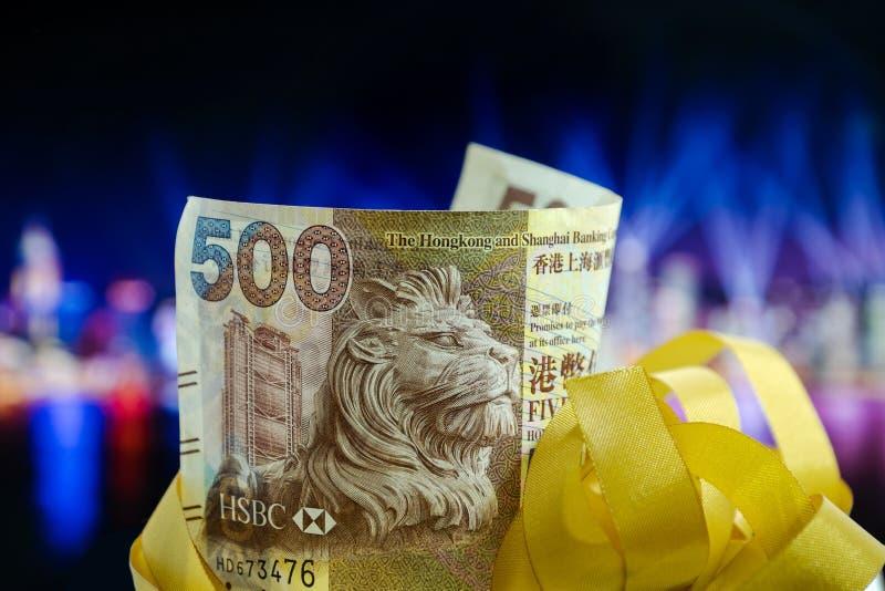 Pięćset dolarów Hong Kong, Hong Kong pieniądze, Hong Kong Świętują Lekkiego przedstawienie obraz stock