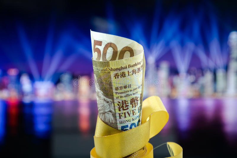 Pięćset dolarów Hong Kong, Hong Kong pieniądze, Hong Kong Świętują Lekkiego przedstawienie zdjęcie stock