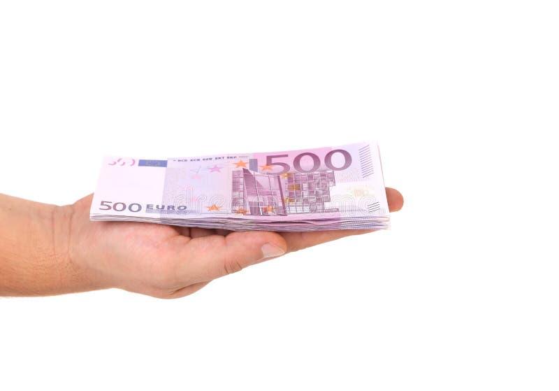 Pięćset euro rachunek na ręce. obraz stock