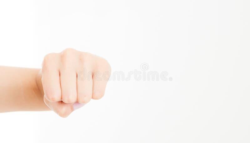 Pięść odizolowywająca na bielu Frontowy widok Egzamin próbny Up kosmos kopii szablon blank zdjęcie stock