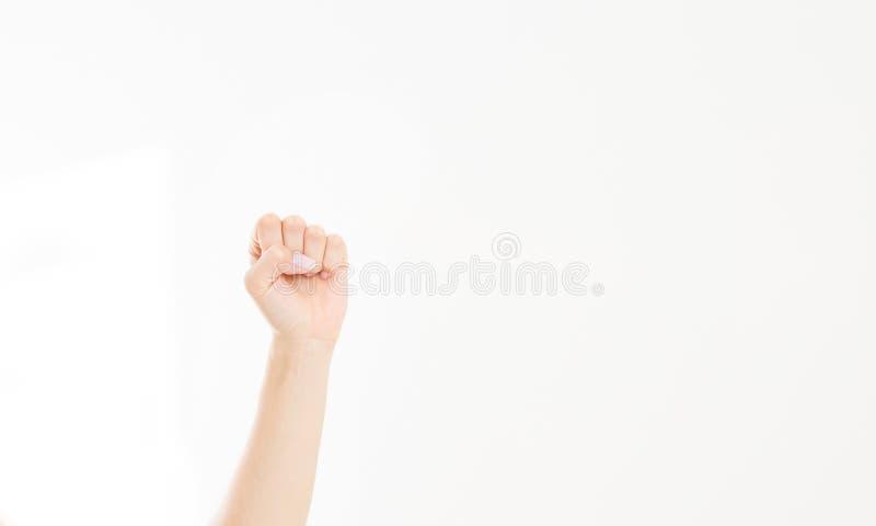Pięść odizolowywająca na bielu Frontowy widok Egzamin próbny Up kosmos kopii szablon blank zdjęcia royalty free