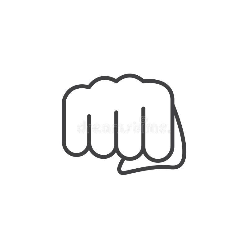 Pięść, przednia puenty ikona, konturu wektoru znak, liniowy piktogram odizolowywający na bielu ilustracji