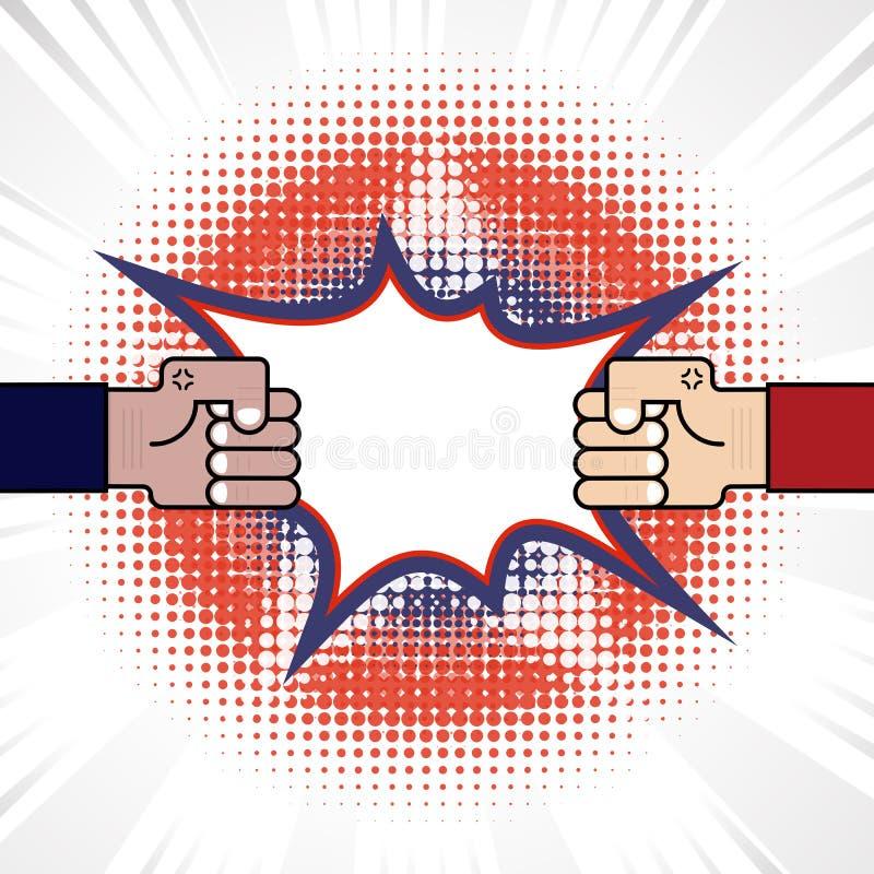Pięść & rywalizacja Błękit & czerwona ręka Rozwiązujący konflikt lub spór royalty ilustracja