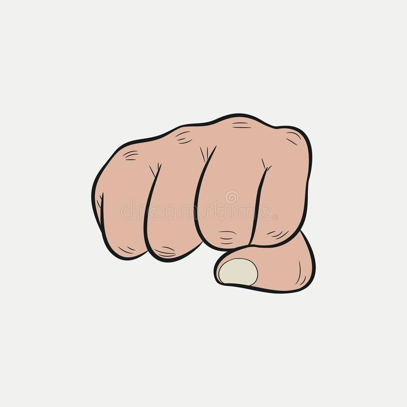 Pięść Zaciskający palce wskazuje naprzód, poncz wektor ilustracji
