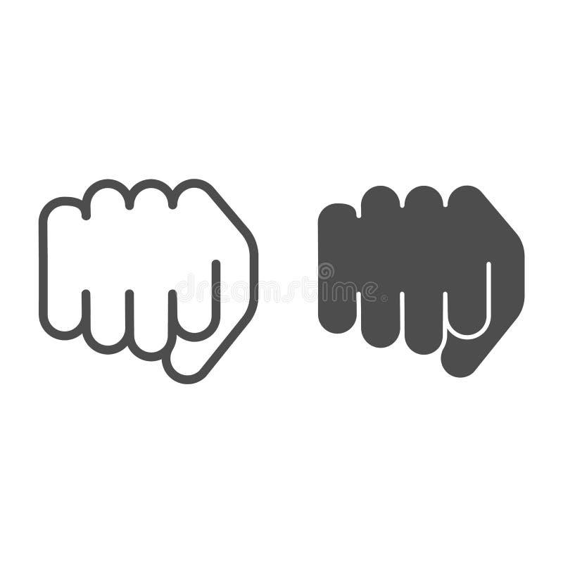 Pięści linia i glif ikona Posyła poncz wektorową ilustrację odizolowywającą na bielu Władza gesta konturu stylu projekt ilustracja wektor
