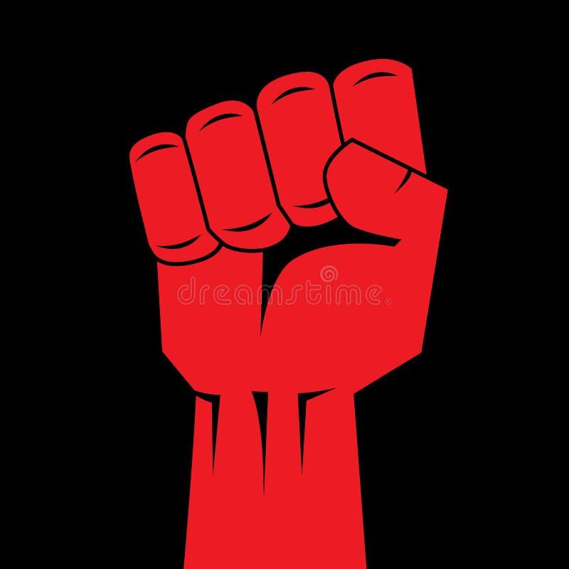 Pięści ręki czerwień zaciskający wektor Zwycięstwo, powstania pojęcie Rewolucja, solidarność, poncz, silny, uderza, zmienia, ilus ilustracja wektor
