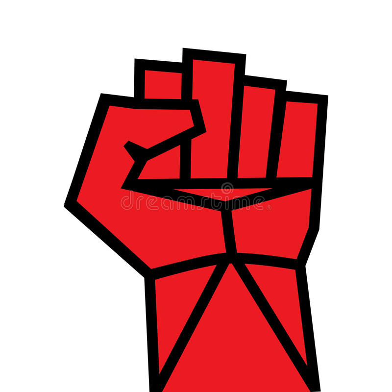 Pięści ręki czerwień zaciskający wektor. Zwycięstwo, powstania pojęcie. Rewolucja, solidarność, poncz, silny, uderza, zmienia, ilu ilustracja wektor