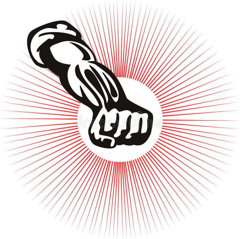 pięści zaciskający starburst ilustracja wektor