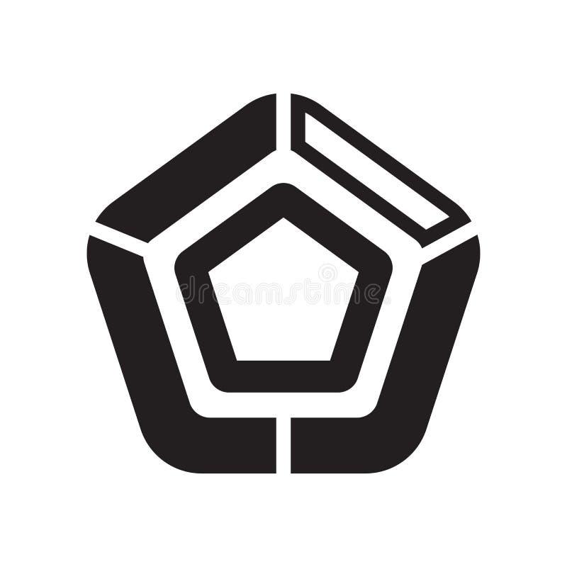 Pięcioboczny mapy ikony wektoru znak i symbol odizolowywający na biały b royalty ilustracja