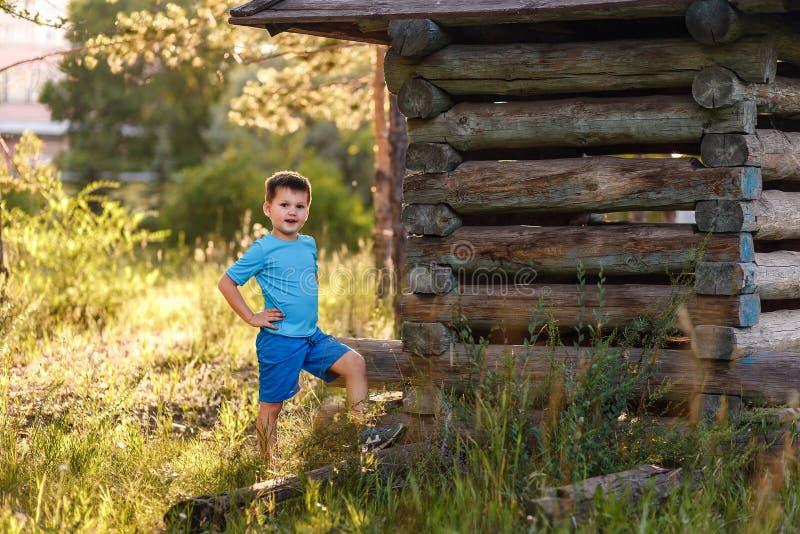 Pięcioletnia chłopiec w zmierzchu świetle w lecie obrazy royalty free