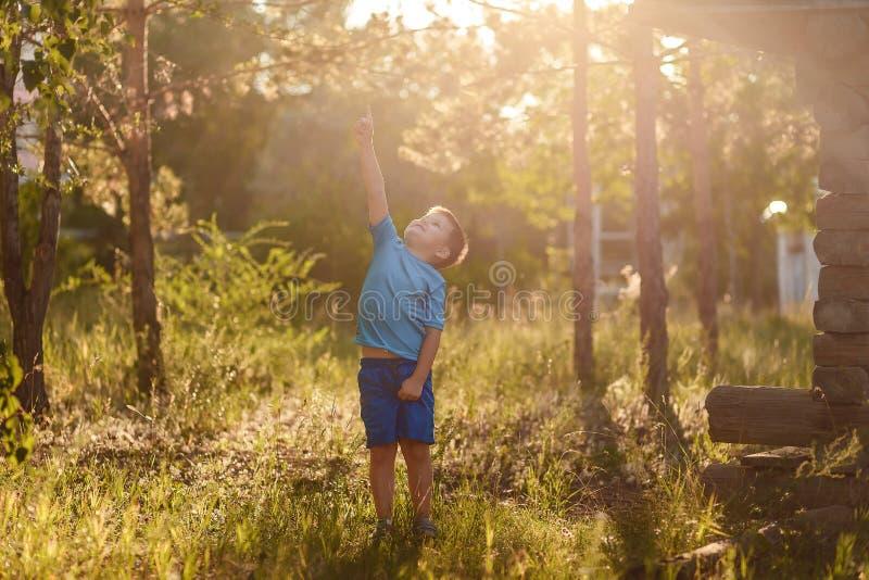 Pięcioletnia Kaukaska chłopiec w błękitnej koszulce i zwiera stojaki w świetle słonecznym w lecie w naturze obrazy stock