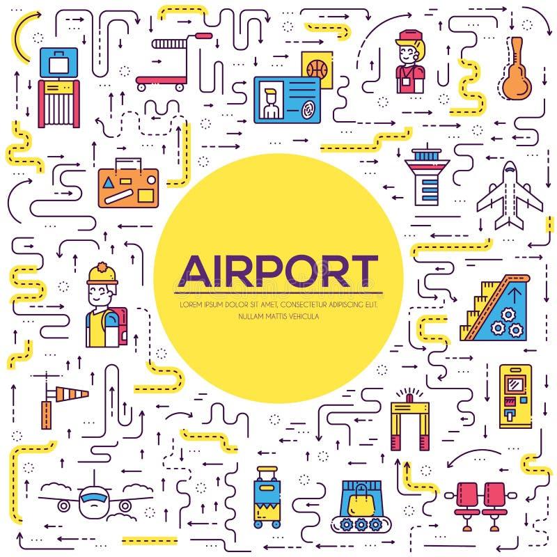 Pięcioliniowy działanie, registratura bagaż w lotniskowym projekcie i ludzie i Rejestracyjnej linii wektorowy ilustracyjny pojęci ilustracja wektor