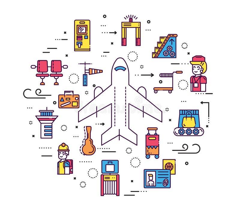 Pięcioliniowy działanie, registratura bagaż w lotniskowym projekcie i ludzie i Rejestracyjnej linii wektorowy ilustracyjny pojęci royalty ilustracja