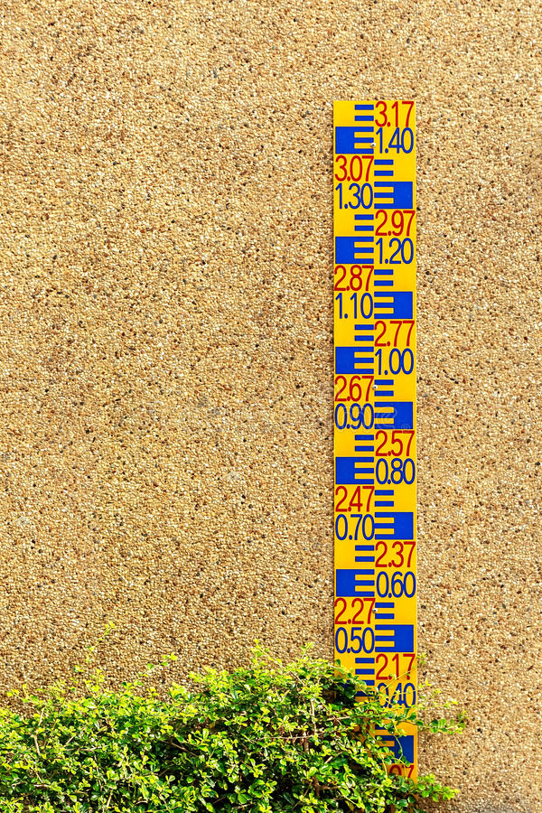 Pięcioliniowy wymiernik przeciw betonowej ścianie obraz stock