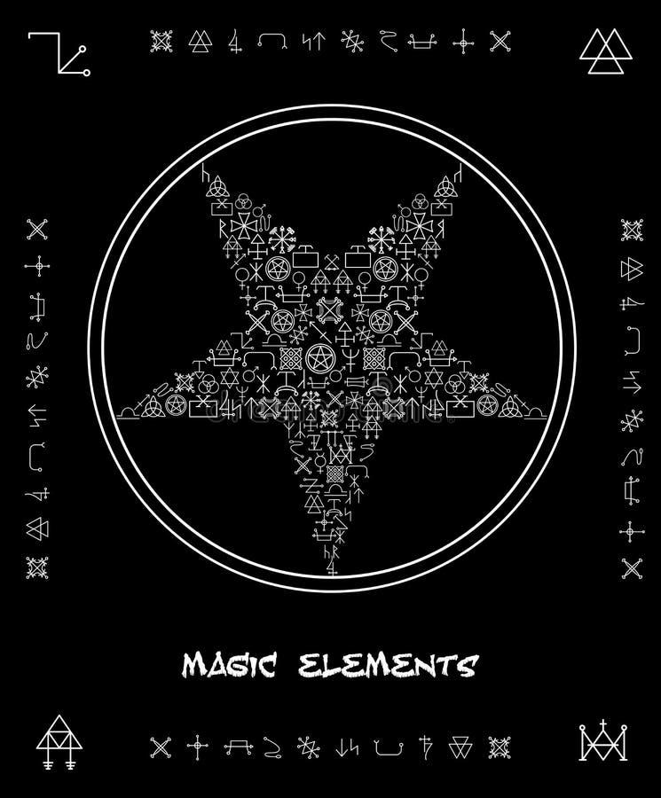 Pięcioramienna gwiazda magiczni elementy ilustracja wektor