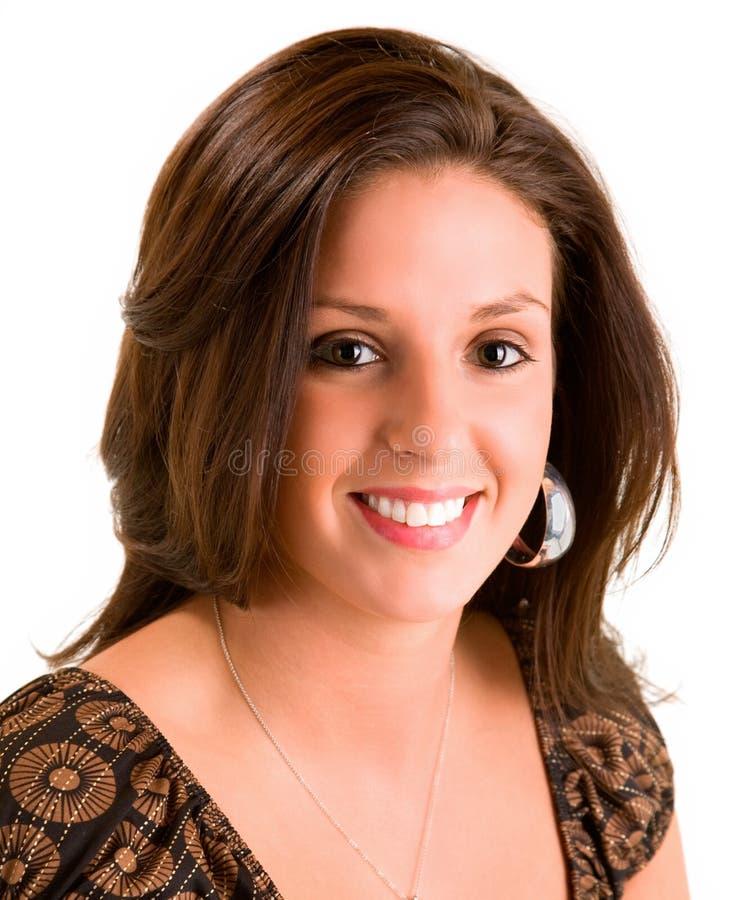 piękną brunetki uśmiechnięci young obrazy royalty free