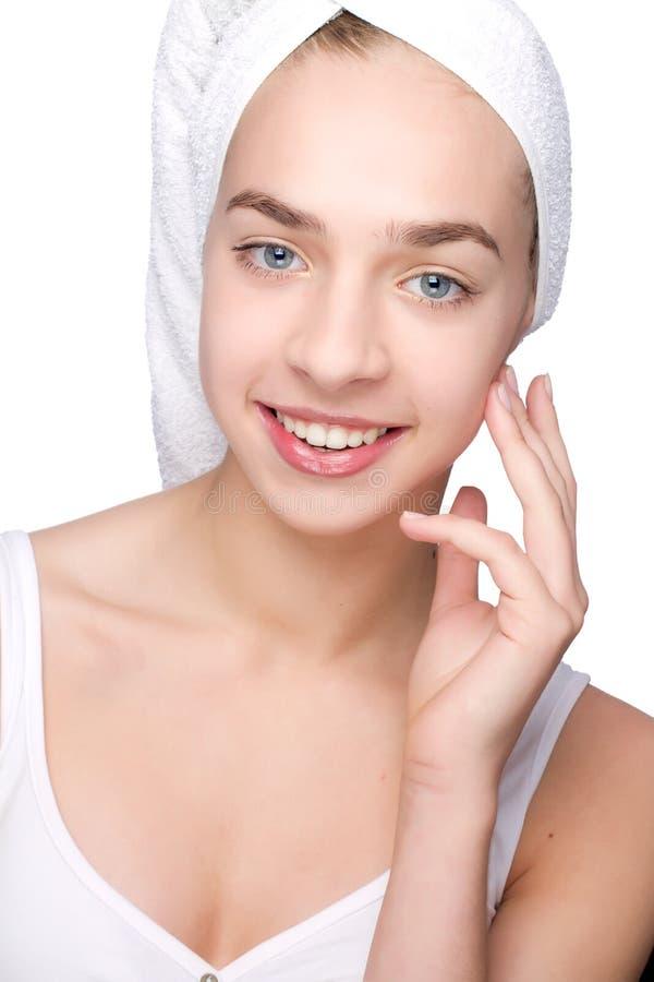piękną dziewczynę głowa jej ręcznik zdjęcie royalty free
