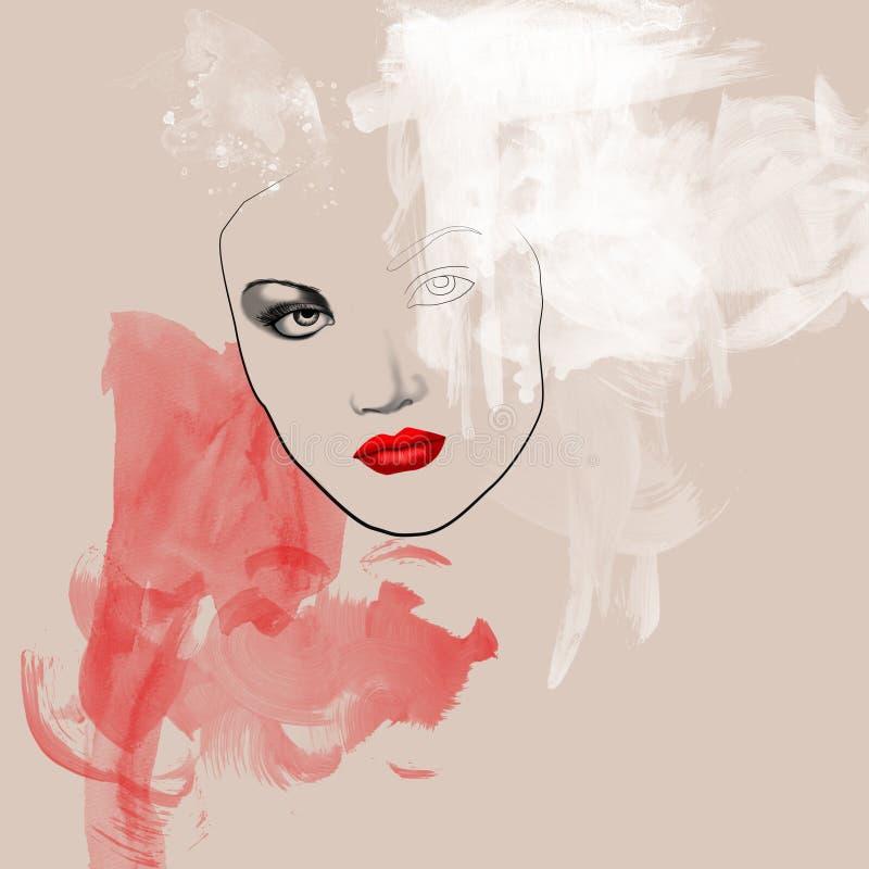 piękną twarz piękna uroda makijaż oczu charakteru naturalnej portret kobiety ilustracja wektor