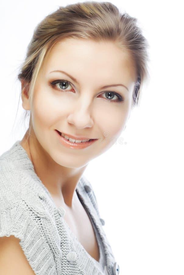 piękną twarz tła występować samodzielnie w białych kobiet young fotografia stock