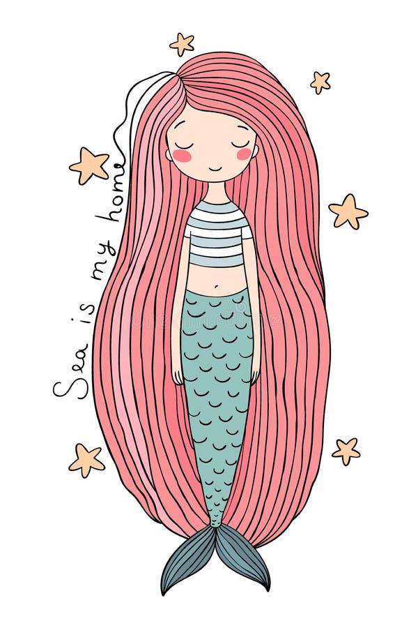 Piękna śliczna kreskówki syrenka z długie włosy syrena abstrakcjonistyczny abstrakci tła morza temat royalty ilustracja