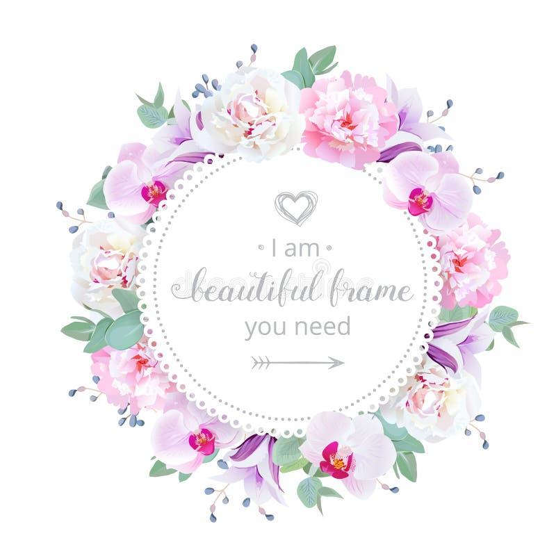 Piękna ślubna kwiecista wektorowa projekt rama Różowa i biała peonia, purpurowa orchidea, fiołkowa kampanula kwitnie royalty ilustracja