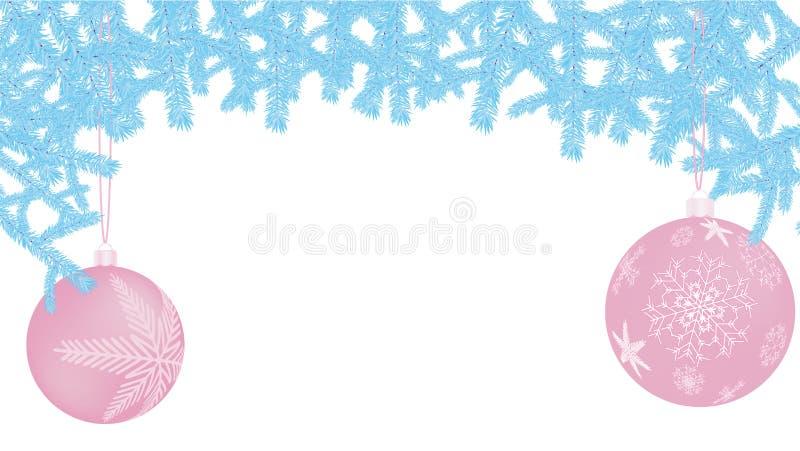 Piękna świąteczna Bożenarodzeniowa pocztówka z nowego roku round purpurowymi piłkami, Bożenarodzeniowe dekoracje z wzorami płatek royalty ilustracja