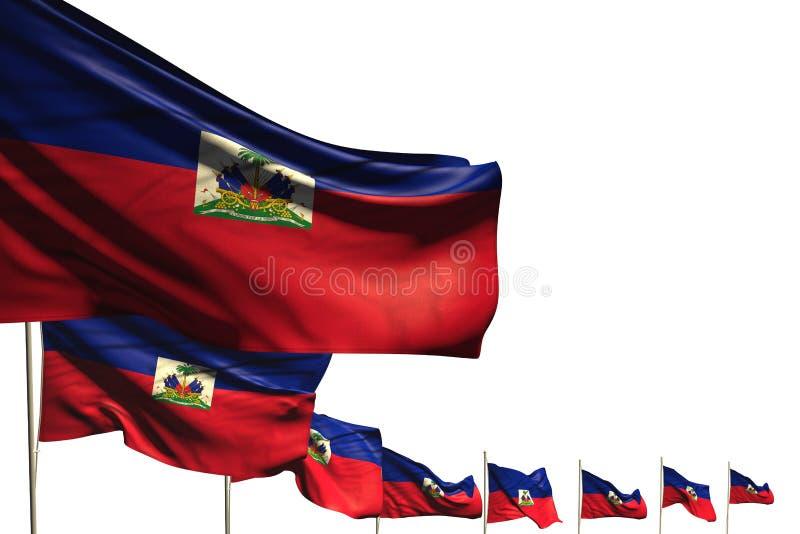 Piękna święto narodowe flagi 3d ilustracja - wiele Haiti flagi umieszczali przekątnę odizolowywającą na bielu z miejscem dla twój ilustracji