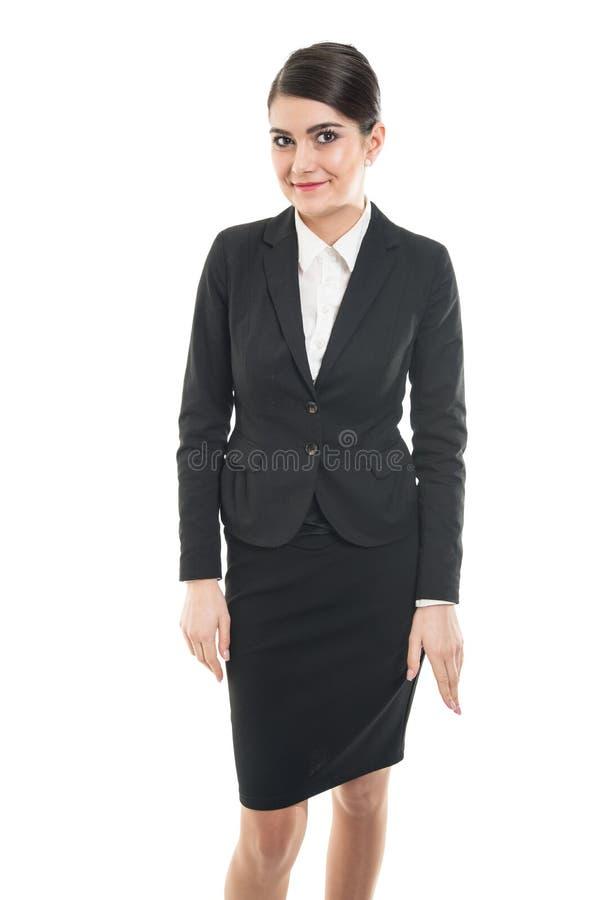 Piękna żeńska steward pozycja, ono uśmiecha się i fotografia stock