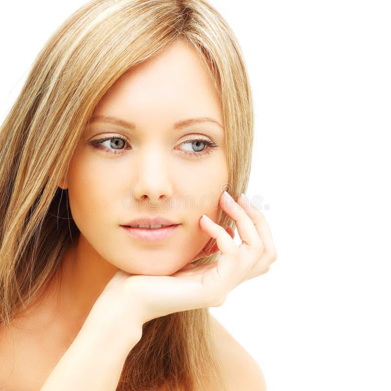 Piękna żeńska twarz - młoda kobieta zdjęcie stock