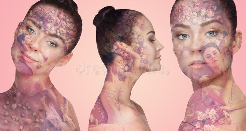 Piękna żeńska twarz z dwoistym ujawnieniem i kwiatami zdjęcia royalty free