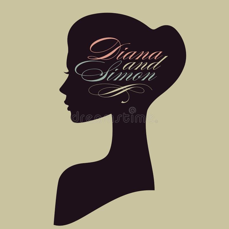 Piękna żeńska twarzy sylwetka w profilu. Weddi royalty ilustracja
