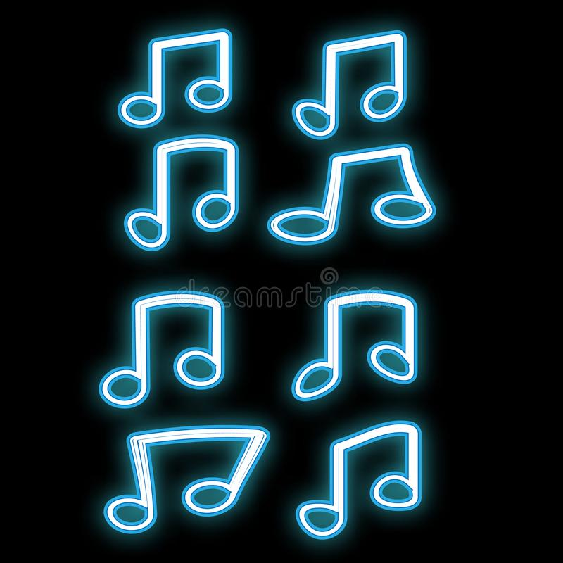 Piękna abstrakcjonistyczna neonowa jaskrawa rozjarzona ikona, signboard od setu notatki, muzykalni dziania różni kształty royalty ilustracja