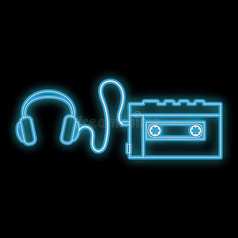 Piękna abstrakcjonistyczna neonowa jaskrawa rozjarzona ikona, signboard od starego retro kaseta gracza z hełmofonami od 70s, 80s, ilustracja wektor