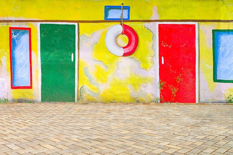 Piękna abstrakcjonistycznej sztuki tła ściana na ulicie z graffi fotografia royalty free