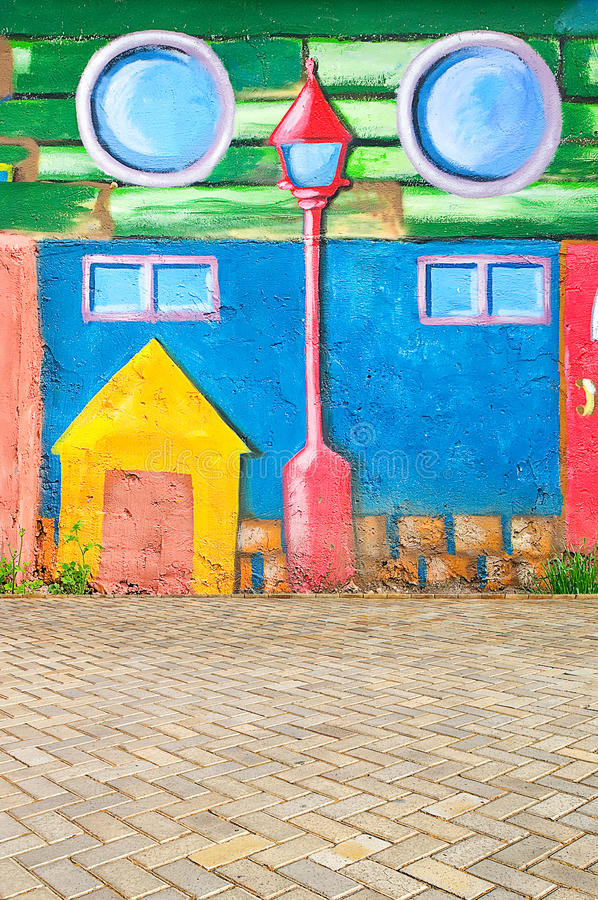 Piękna abstrakcjonistycznej sztuki tła ściana na ulicie z graffi obrazy royalty free