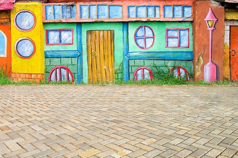 Piękna abstrakcjonistycznej sztuki tła ściana na ulicie z graffiti zdjęcie royalty free