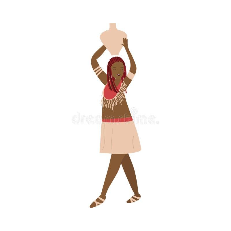 Piękna afrykańska aborygen kobieta w tradycyjnym odziewa z wodnym dzbankiem ilustracji