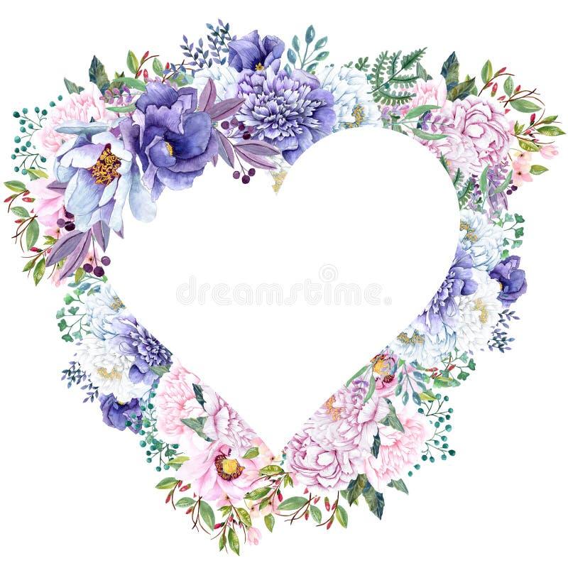 Piękna akwareli mennicy kwiatów rama Nowy złocisty ślub zaprasza szablon ilustracja wektor