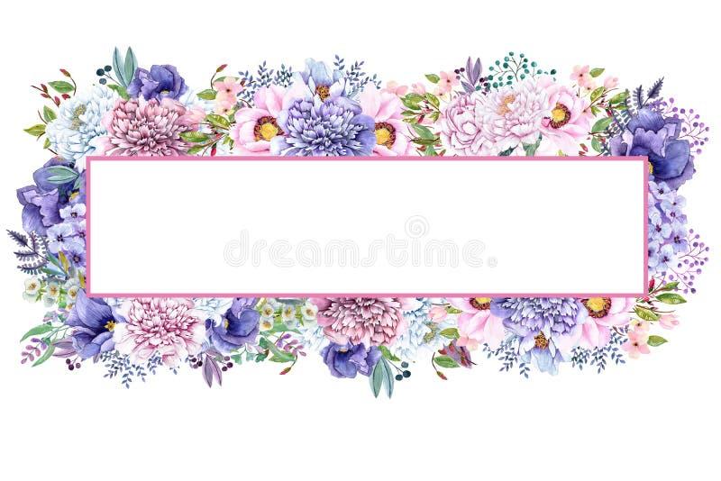 Piękna akwareli mennicy kwiatów rama Nowy złocisty ślub zaprasza szablon ilustracji