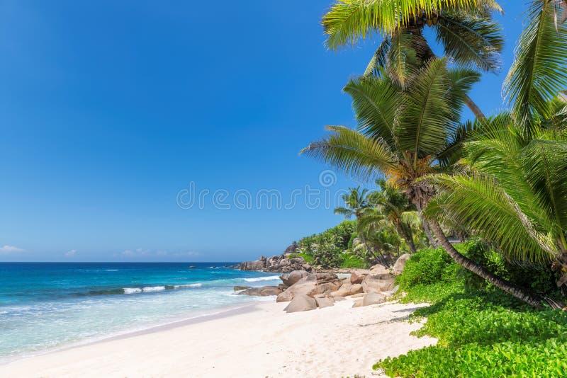 Piękna Anse Lazio plaża przy Praslin wyspą, Seychelles obraz royalty free