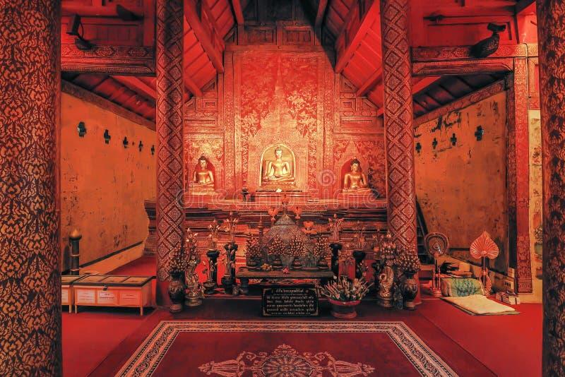 Piękna antyczna świątynia w Chiangmai Tajlandia (Wat Pra Singh) zdjęcia royalty free