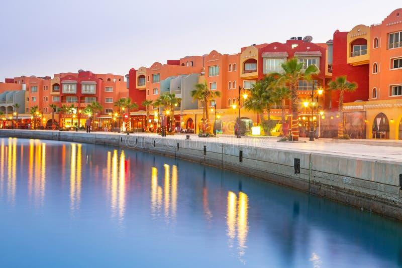 Piękna architektura Hurghada Marina zdjęcie royalty free