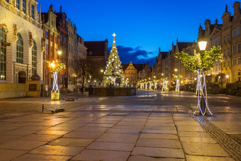 Piękna architektura Long Lane w Gdańsku o świcie, Polska obraz stock