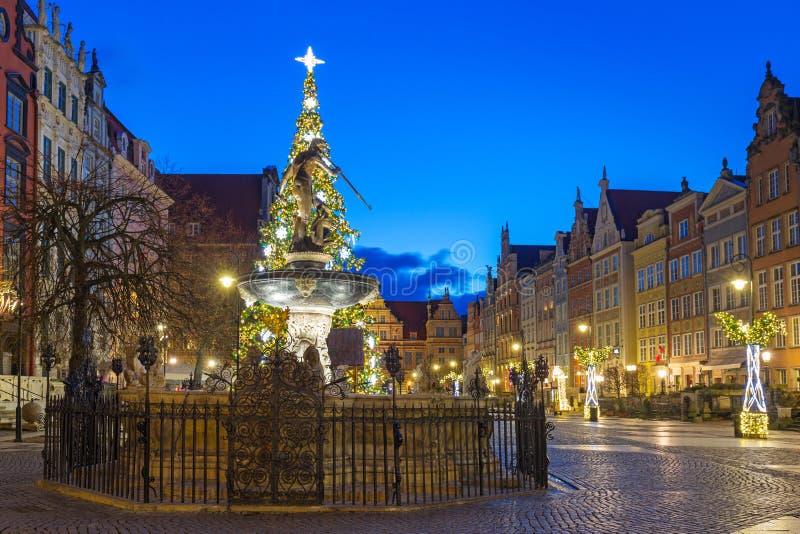 Piękna architektura Long Lane w Gdańsku o świcie, Polska obrazy stock