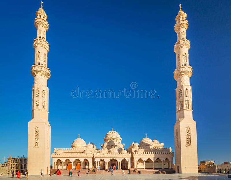 Piękna architektura meczet w Hurghada fotografia royalty free