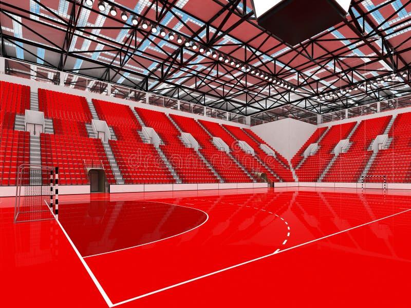 Piękna arena sportowa dla handball z czerwieni siedzeniami i VIP pudełkami - 3D odpłacają się ilustracja wektor