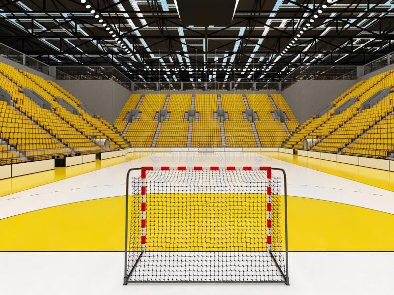 Piękna arena sportowa dla handball z kolorów żółtych siedzeniami i VIP pudełkami - 3d odpłacają się royalty ilustracja