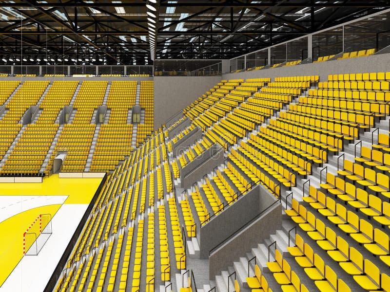 Piękna arena sportowa dla handball z kolorów żółtych siedzeniami i VIP pudełkami - 3d odpłacają się ilustracji